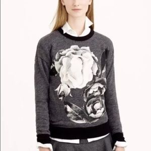 J. Crew Digital Floral Crew Neck Pull Over Sweater
